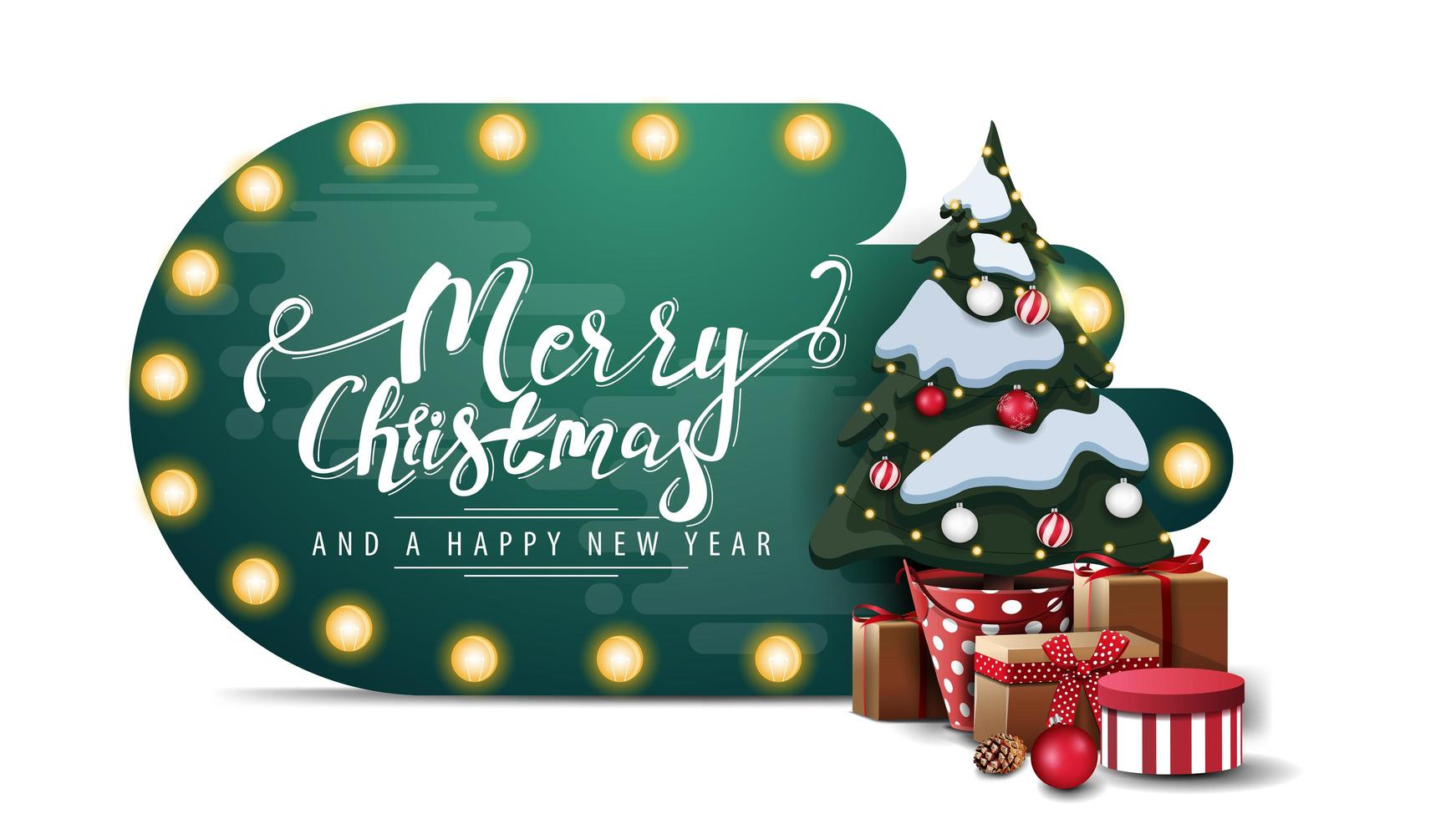 Joyeux Noël et bonne année, carte de forme abstraite verte avec ampoule et arbre de Noël dans un pot avec des cadeaux isolé sur fond blanc vecteur