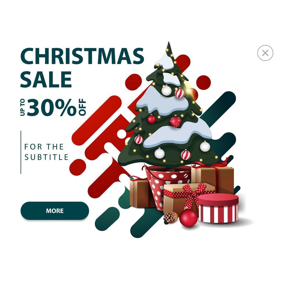 vente de Noël, jusqu'à 30 de réduction, remise blanche pop-up pour le site Web avec des formes abstraites aux couleurs rouges et vertes et arbre de Noël dans un pot avec des cadeaux vecteur