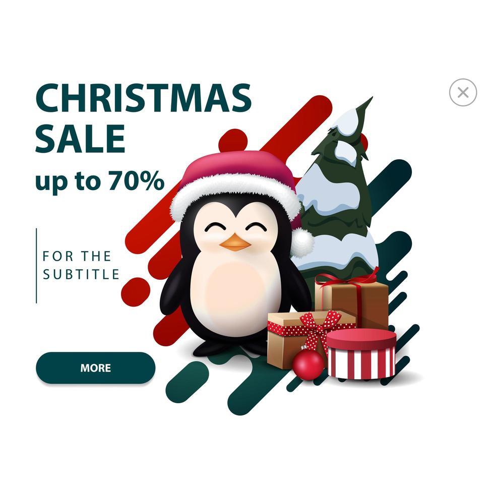 vente de noël, jusqu'à 70 de réduction, remise blanche pop-up pour site Web avec des formes abstraites dans des couleurs rouges et vertes et pingouin en chapeau de père Noël avec des cadeaux vecteur