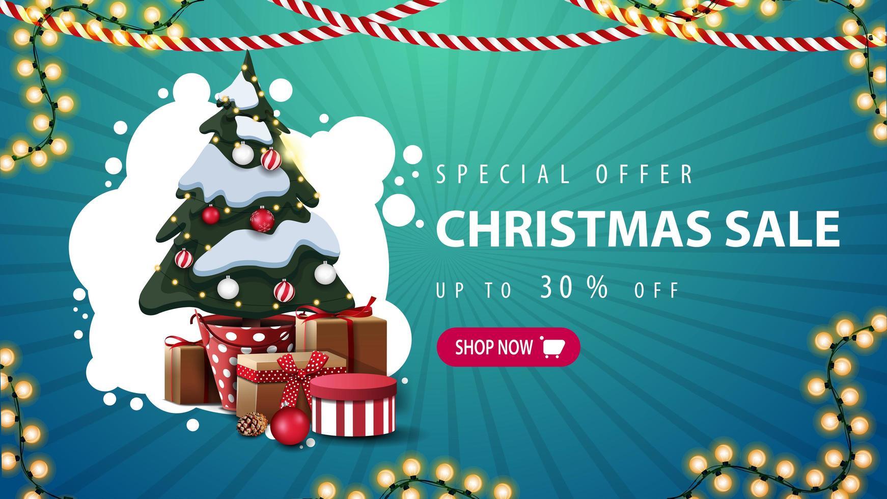 offre spéciale, vente de Noël, jusqu'à 30 rabais, bannière de réduction bleue avec nuage abstrait blanc, guirlandes, bouton et arbre de Noël dans un pot avec des cadeaux vecteur