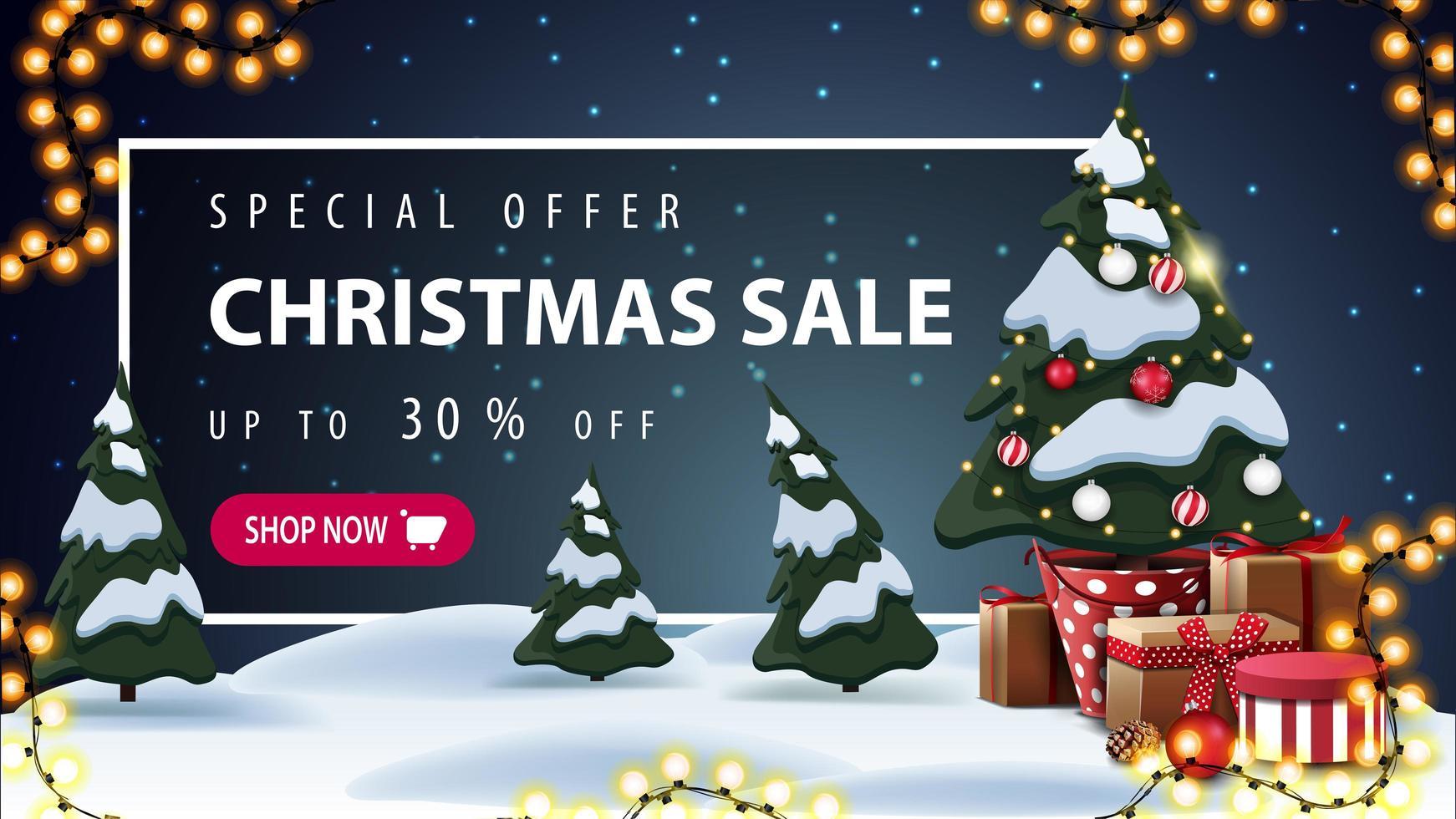 offre spéciale, vente de Noël, jusqu'à 30 de réduction, belle bannière de réduction avec paysage d'hiver de dessin animé sur fond, guirlande, arbre de Noël dans un pot avec des cadeaux et cadre blanc avec offre derrière les congères vecteur