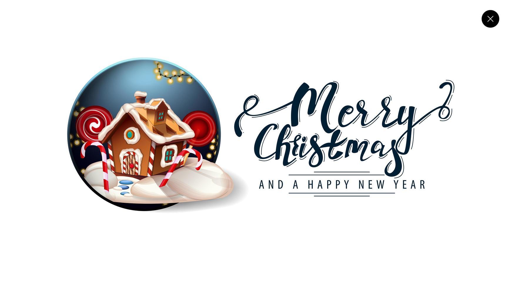 joyeux noël, carte blanche pour site Web dans un style minimaliste avec beau lettrage et maison en pain d'épice de Noël vecteur