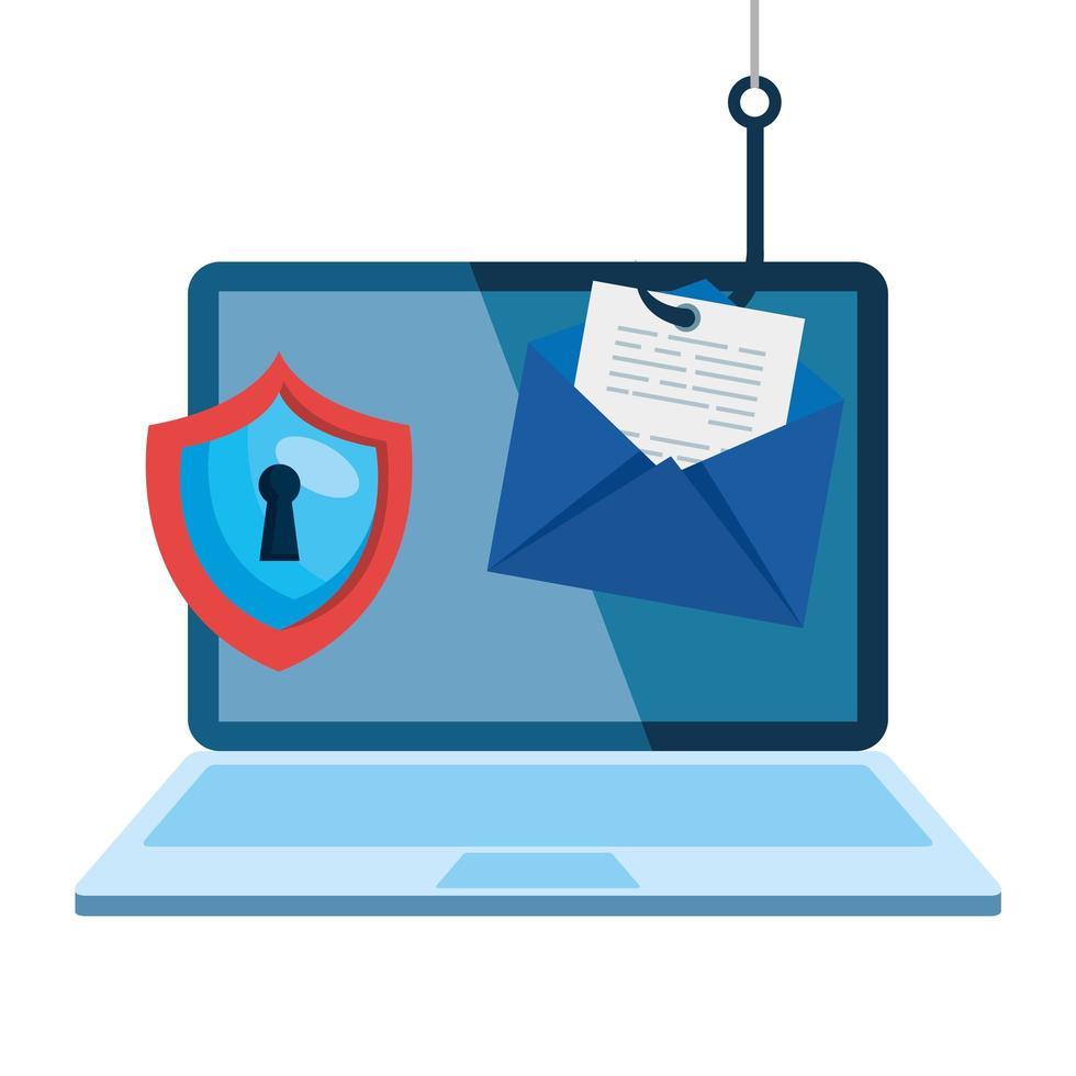 Data phishing hacking concept d'arnaque en ligne, avec ordinateur portable et crochet d'icônes vecteur