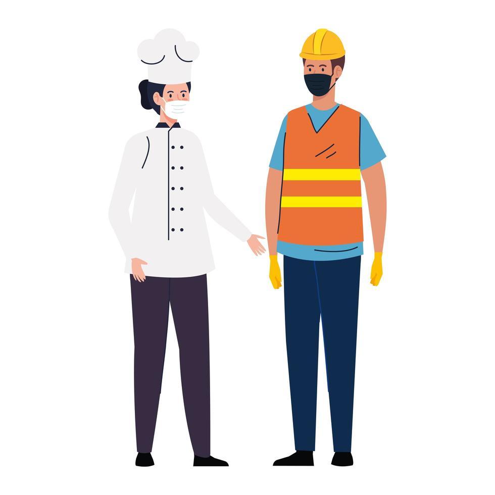 Construction de travailleurs avec femme chef à l'aide d'un masque facial pendant covid 19 sur fond blanc vecteur