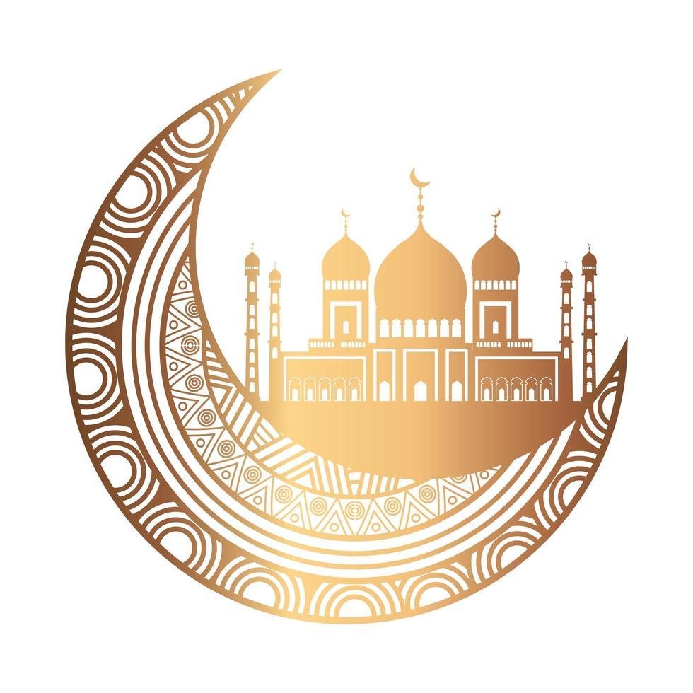 ornement de célébration eid sur fond blanc, lune suspendue vecteur