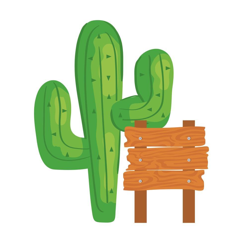 Plante de cactus avec clôture en bois sur fond blanc vecteur