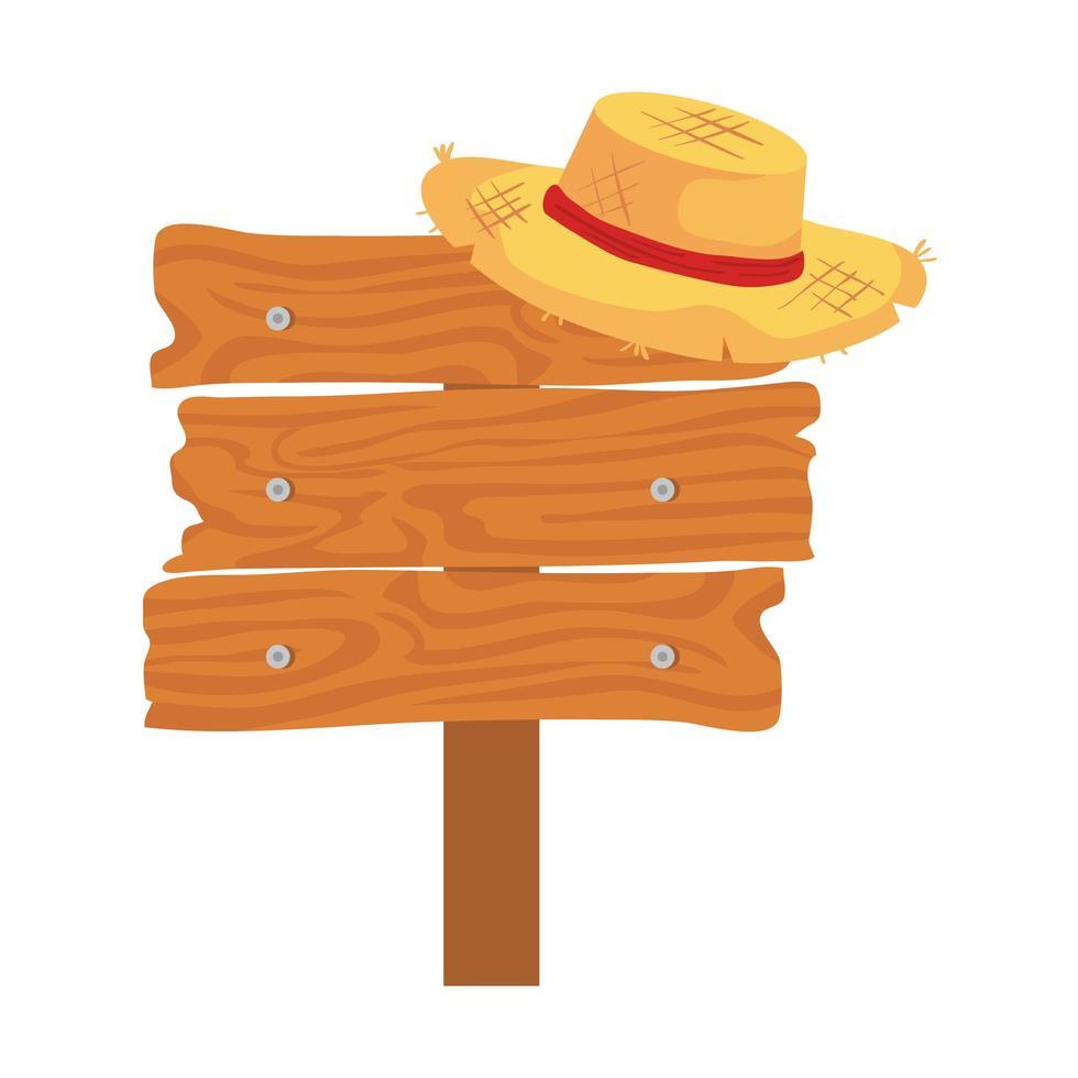 Panneau en bois avec chapeau en osier sur fond blanc vecteur