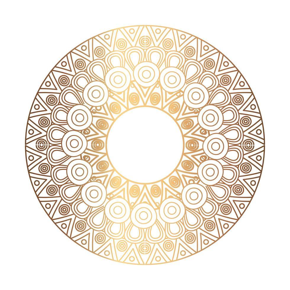 ornement élégant, mandala rond de couleur dorée vecteur