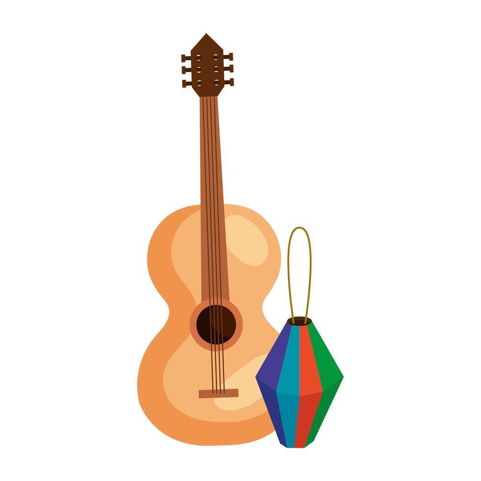 Lanterne en papier avec guitare classique en bois sur fond blanc vecteur