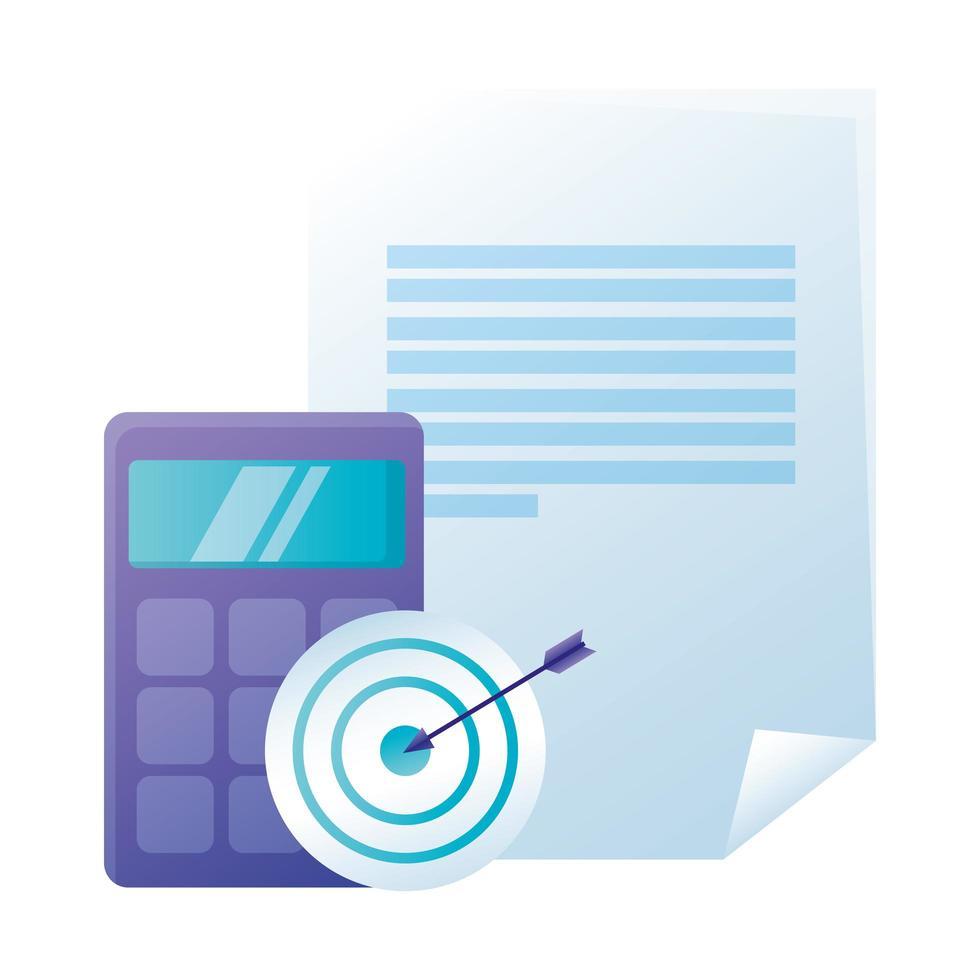 cible de calculatrice isolée et conception de vecteur de papier document