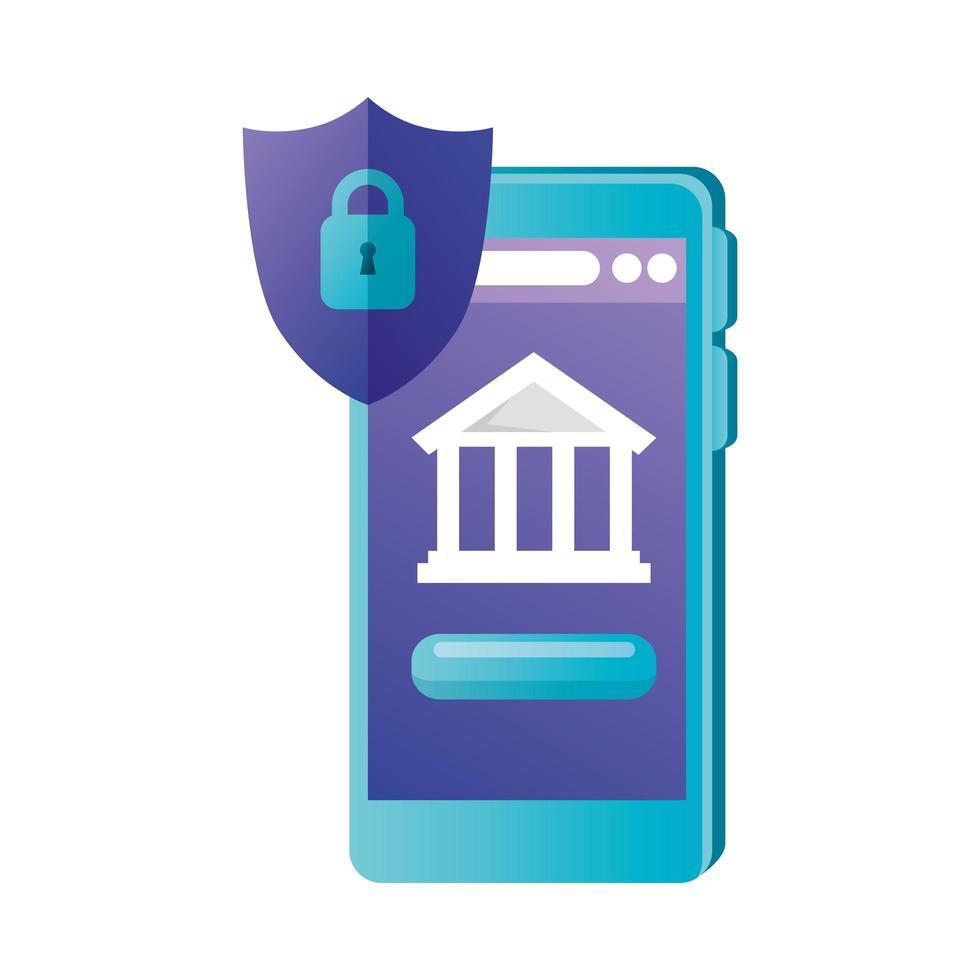 smartphone isolé avec conception de vecteur de banque et de bouclier
