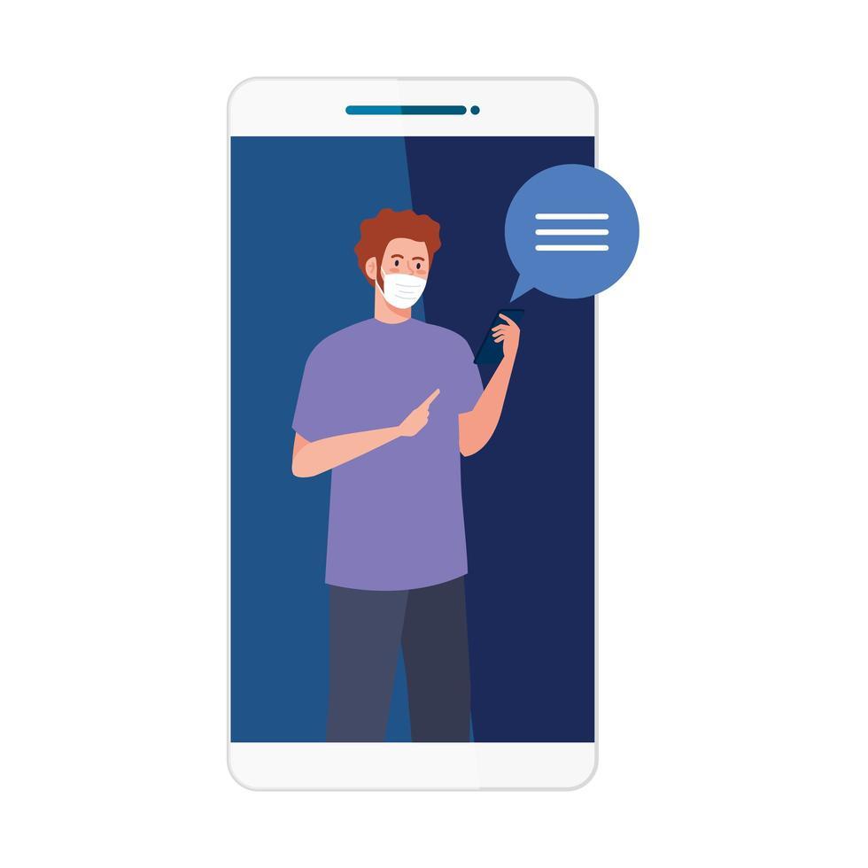 homme avec masque médical tenant la conception de vecteur smartphone et bulle