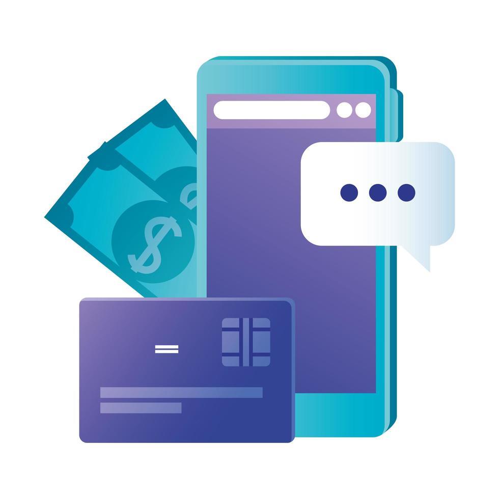 smartphone isolé avec carte de crédit et conception de vecteur de factures