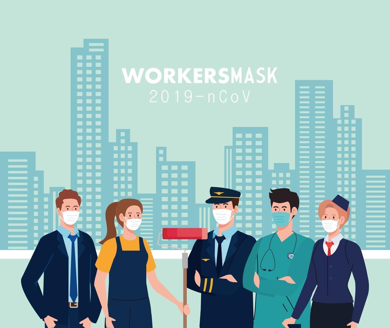 personnes travailleurs avec des masques de travail devant la conception de vecteur de bâtiments de la ville