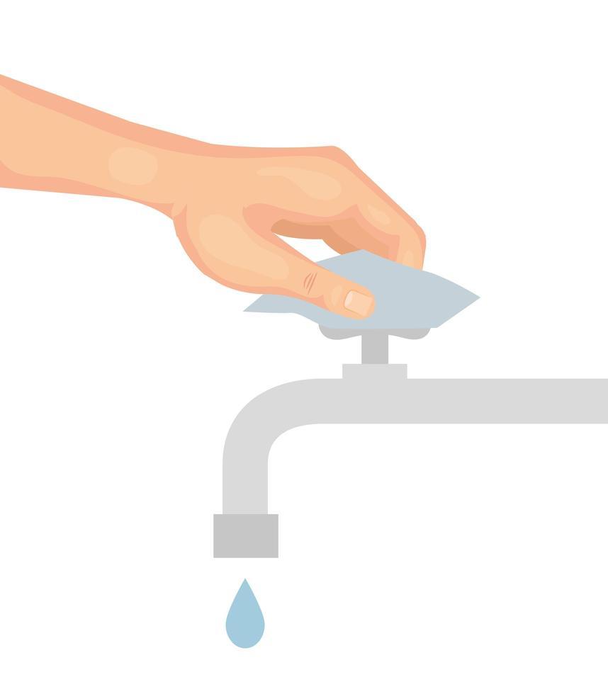 main avec la conception de vecteur de robinet deau