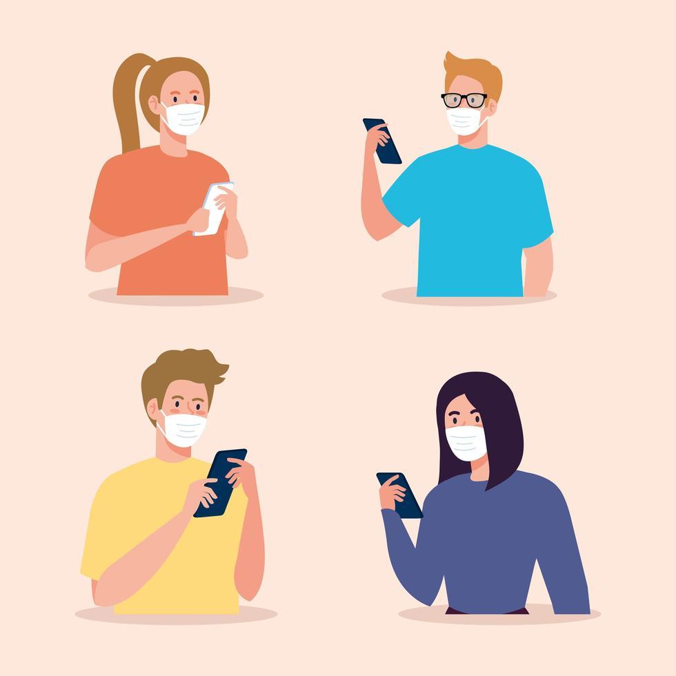 femmes et hommes avec des masques tenant la conception de vecteur de smartphone