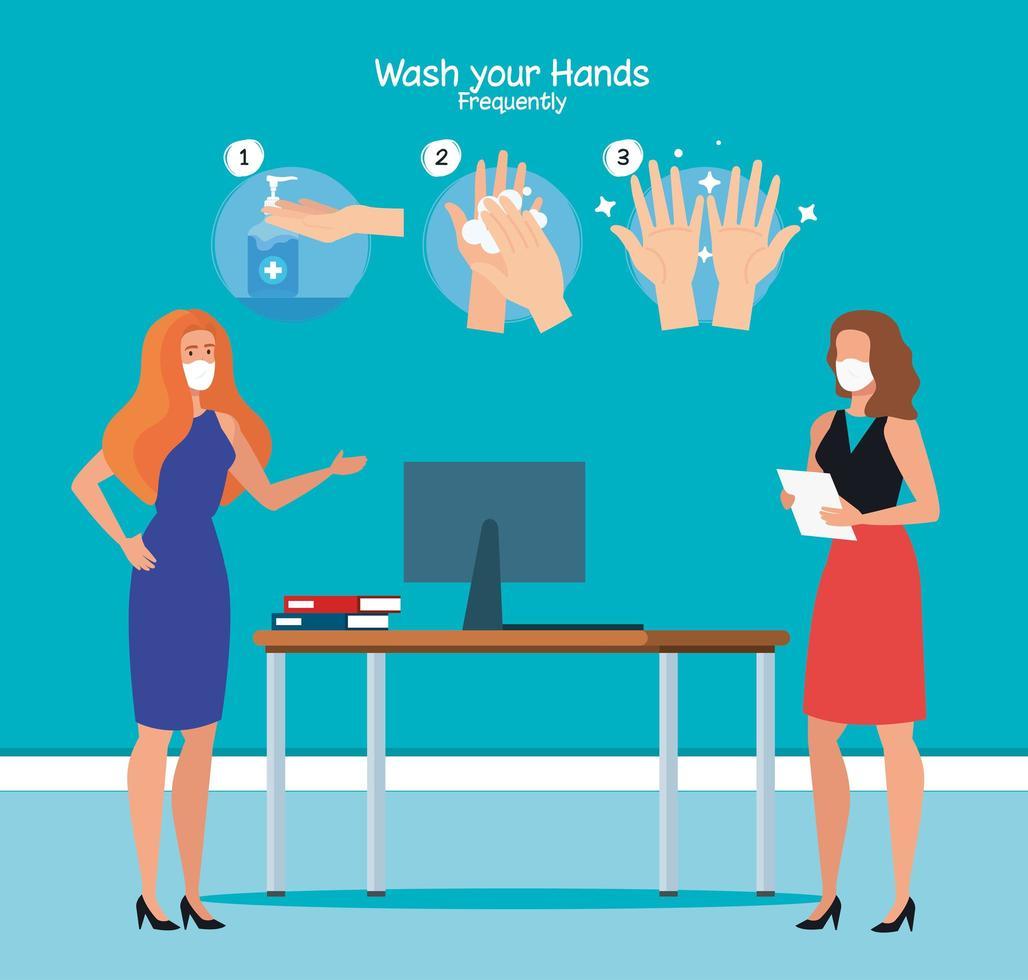 femmes d & # 39; affaires au bureau et les mains lavant les étapes de conception de vecteur