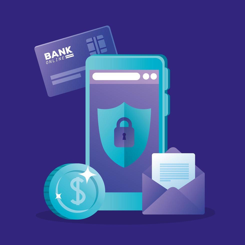 conception de vecteur de carte de crédit et enveloppe de pièce de smartphone