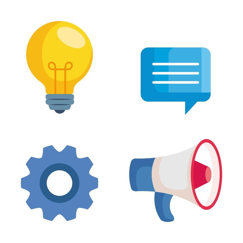 Ampoule bulle mégaphone et équipement de conception de vecteur de marketing numérique