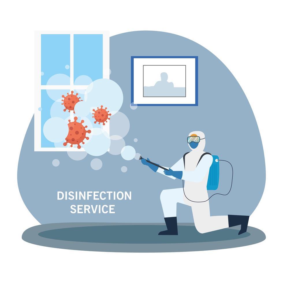 Homme avec vêtement de protection pulvérisant la fenêtre d'accueil avec la conception de vecteur de covid 19