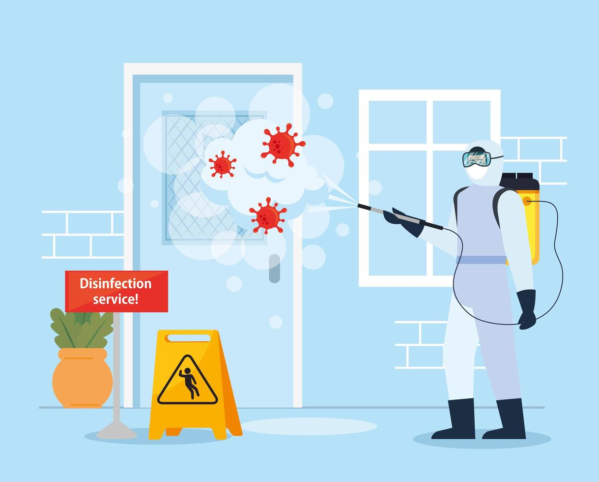 homme avec combinaison de protection salle de pulvérisation avec conception de vecteur covid 19