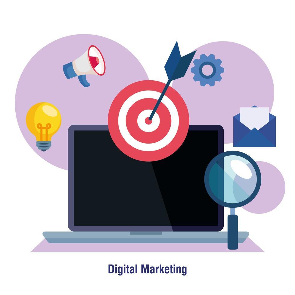 ordinateur portable avec cible lupe et jeu d'icônes de conception de vecteur de marketing numérique