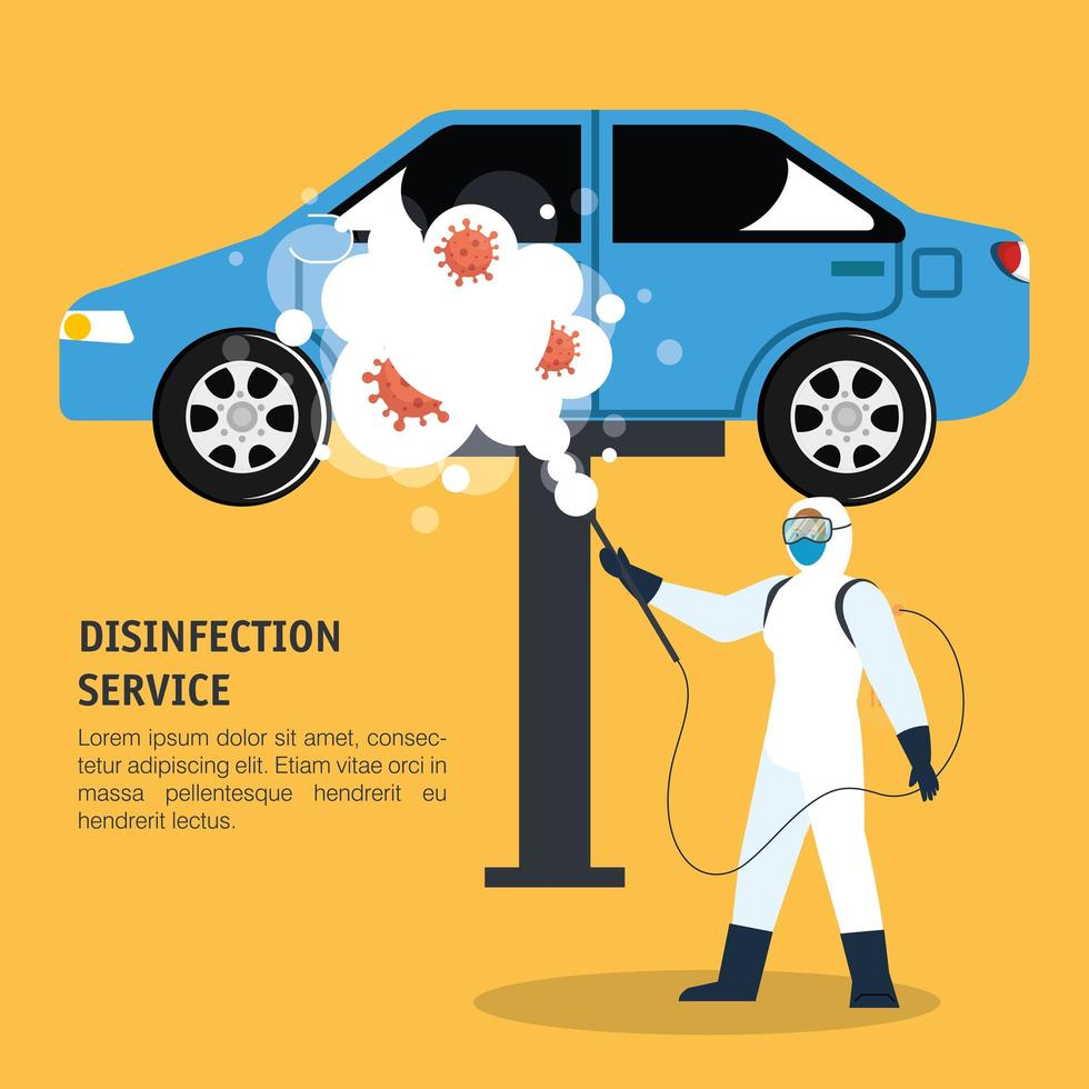 Homme avec combinaison de protection pulvérisant une voiture bleue avec un dessin vectoriel covid 19