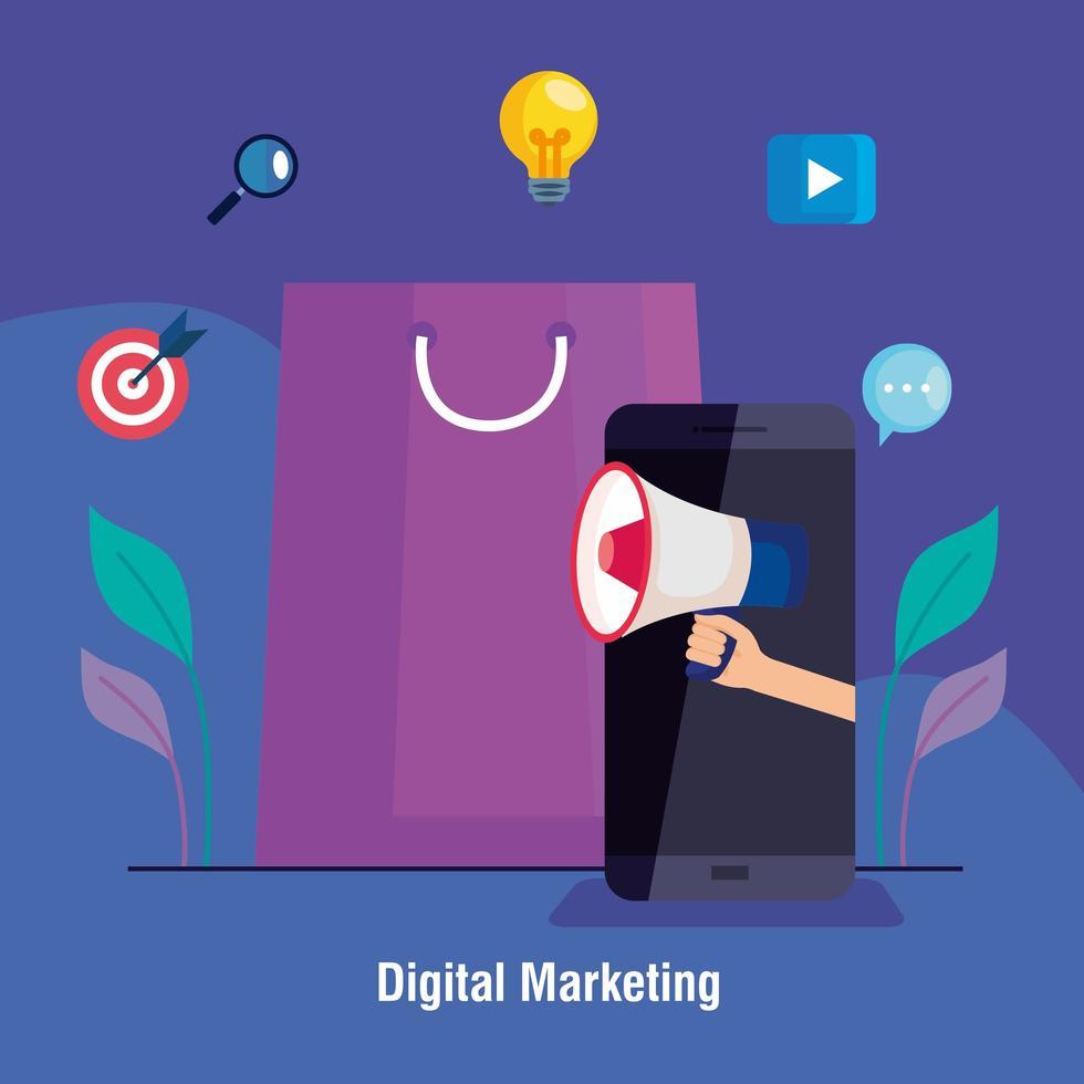 smartphone et sac avec jeu d'icônes de conception de vecteur de marketing numérique