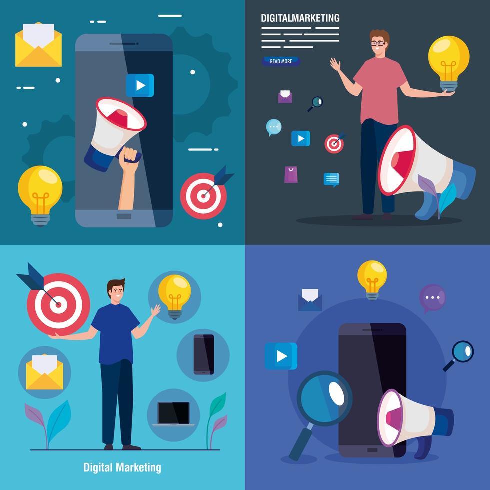 avatars de smartphones et d'hommes avec jeu d'icônes de conception de vecteur de marketing numérique