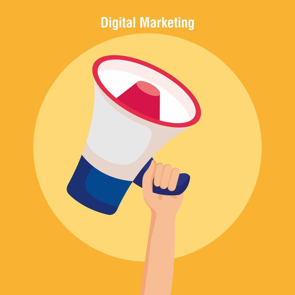 main tenant un mégaphone de conception de vecteur de marketing numérique