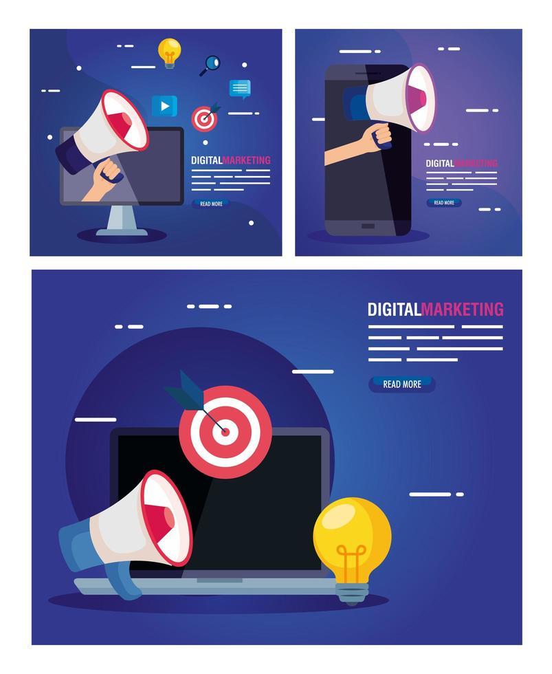 ordinateur portable avec jeu d'icônes de conception de vecteur de marketing numérique