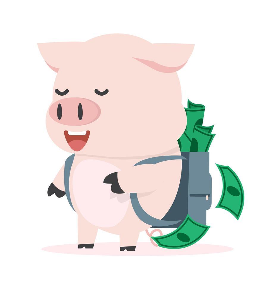 mignon petit cochon avec sac à dos plein d'argent vecteur