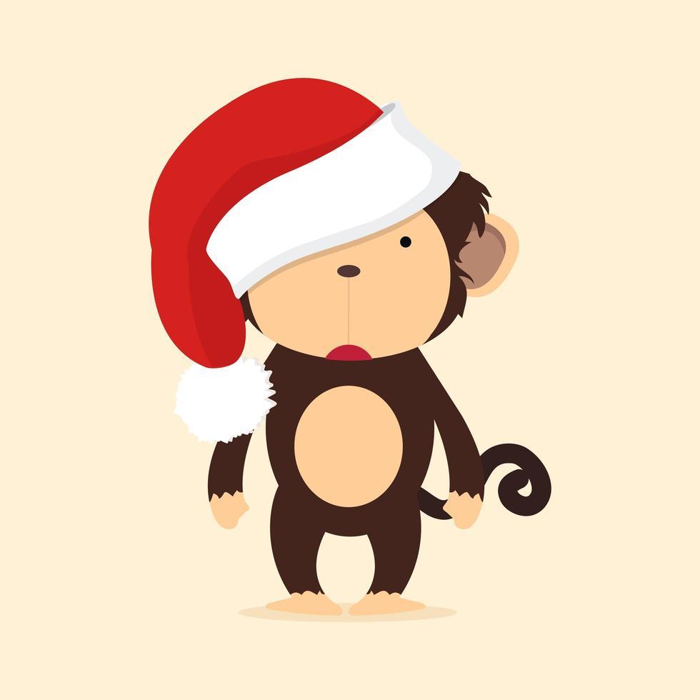 singe mignon avec bonnet de Noel vecteur