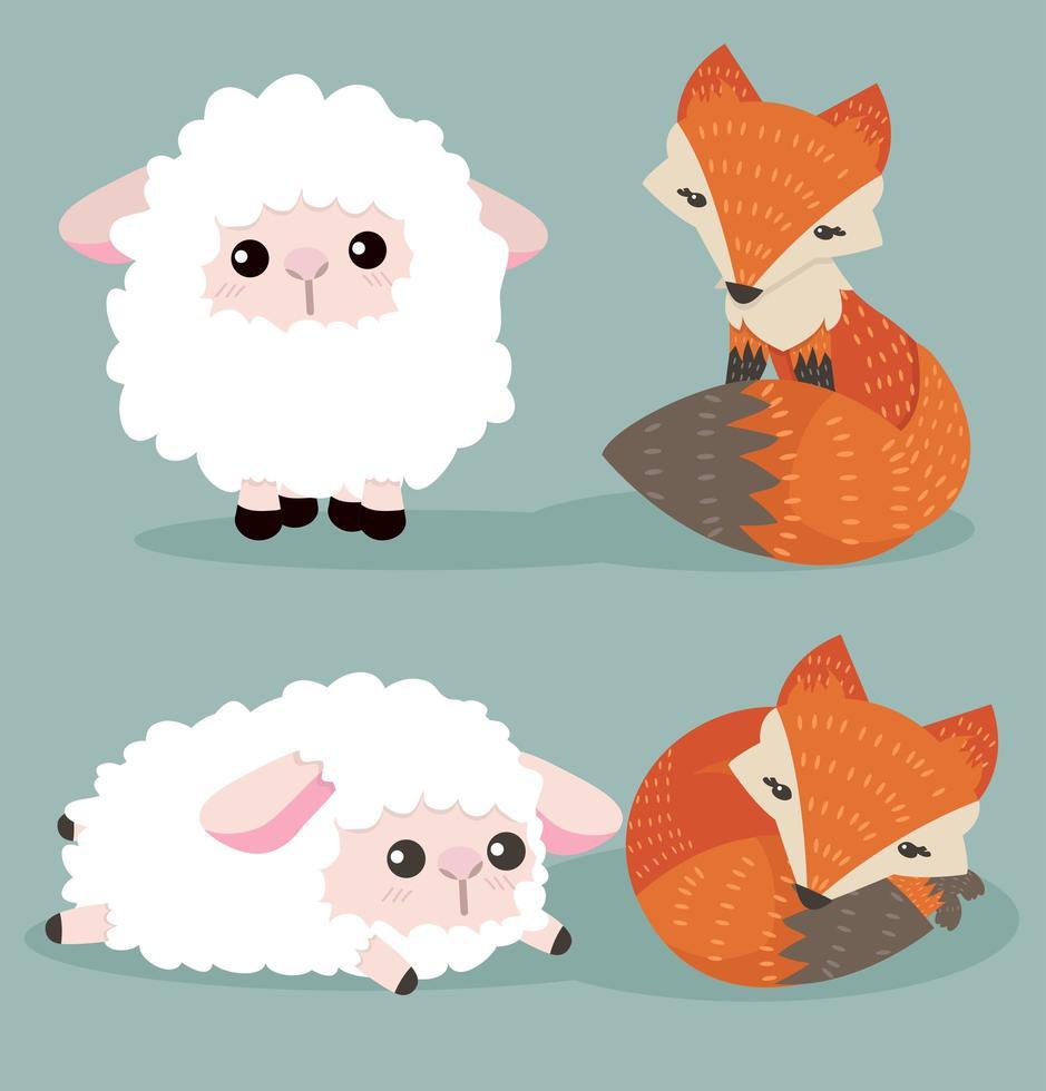 ensemble de dessin animé renard et mouton vecteur