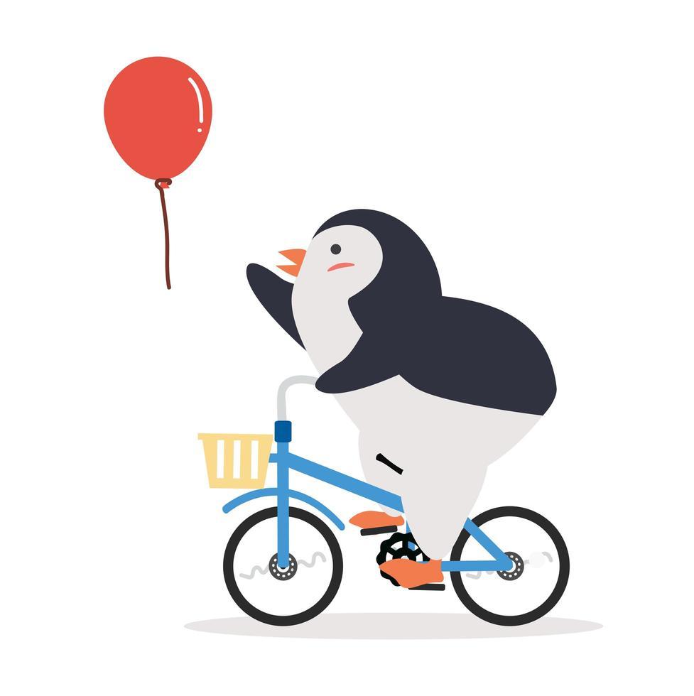 pingouin mignon à bicyclette avec ballon vecteur