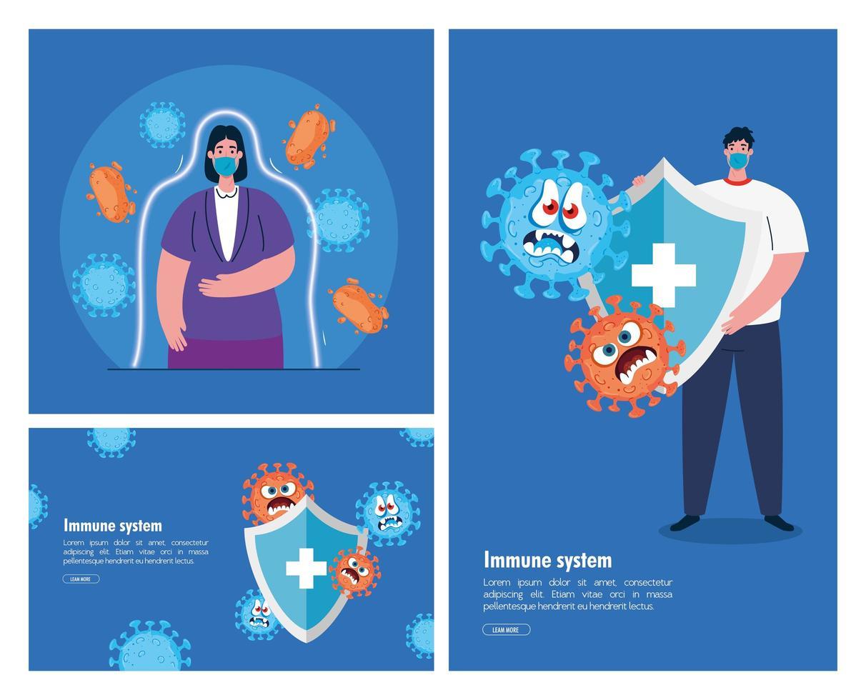 femme et homme avec masques, boucliers et dessins animés vector design