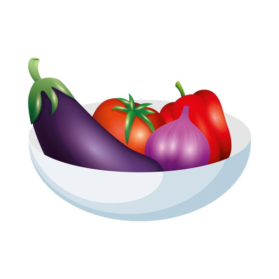 conception de vecteur aubergine tomate ail et poivron