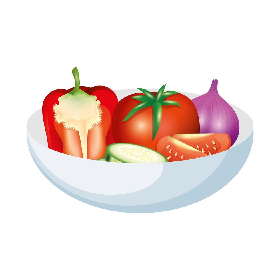 conception de vecteur de légumes tomate poivron concombre et ail