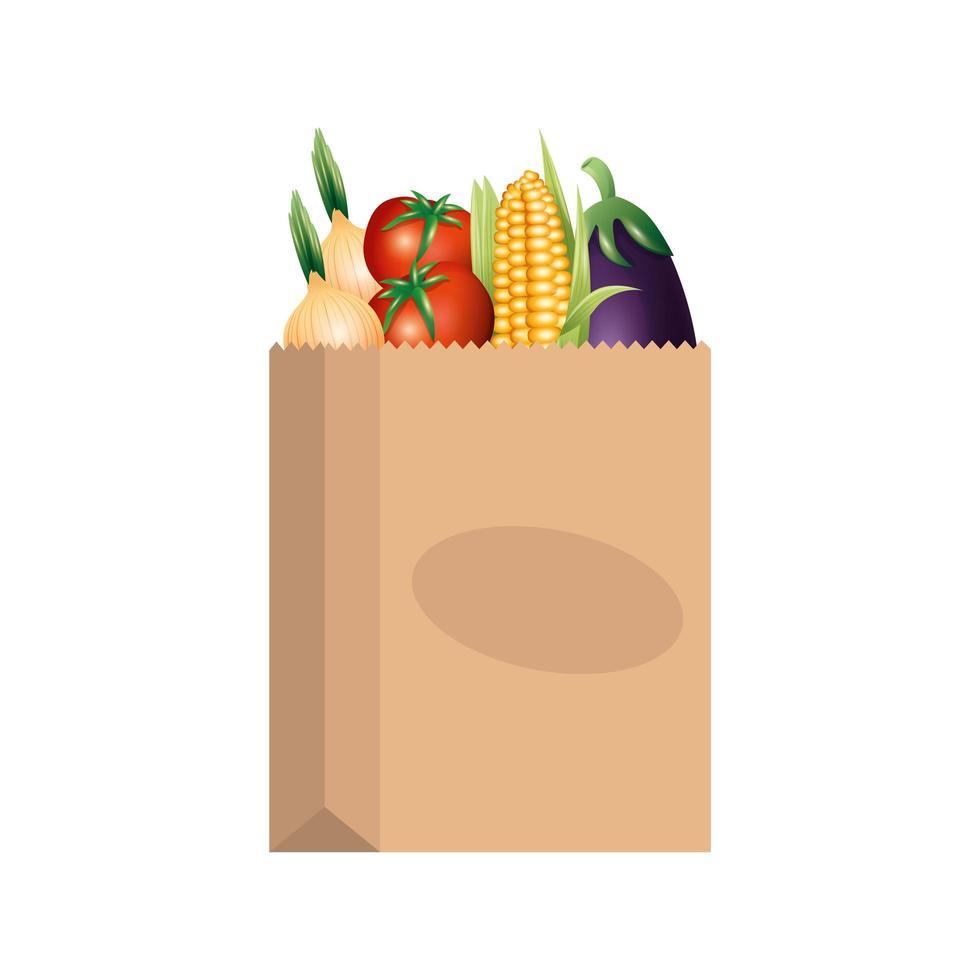 légumes à l & # 39; intérieur de la conception de vecteur de sac