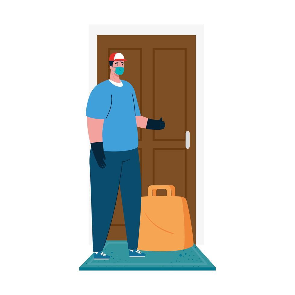 livreur avec masque et sac devant la conception de vecteur de porte