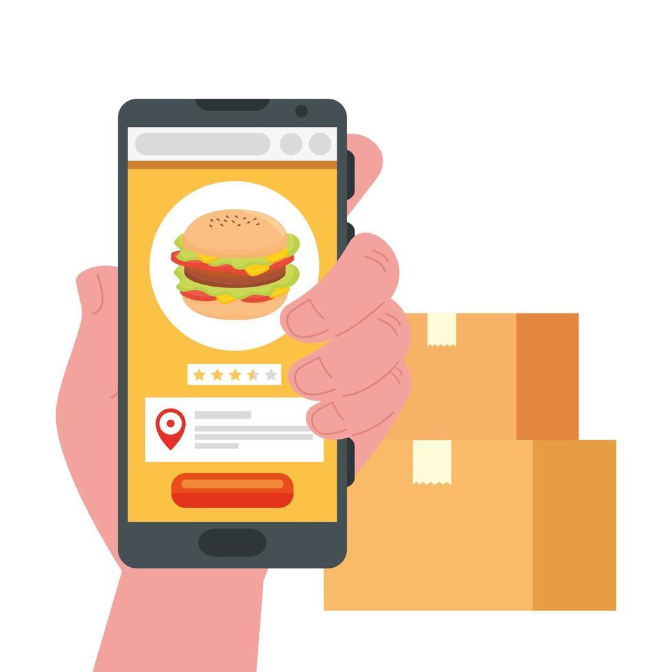 main tenant martphone avec hamburger et boîtes vector design