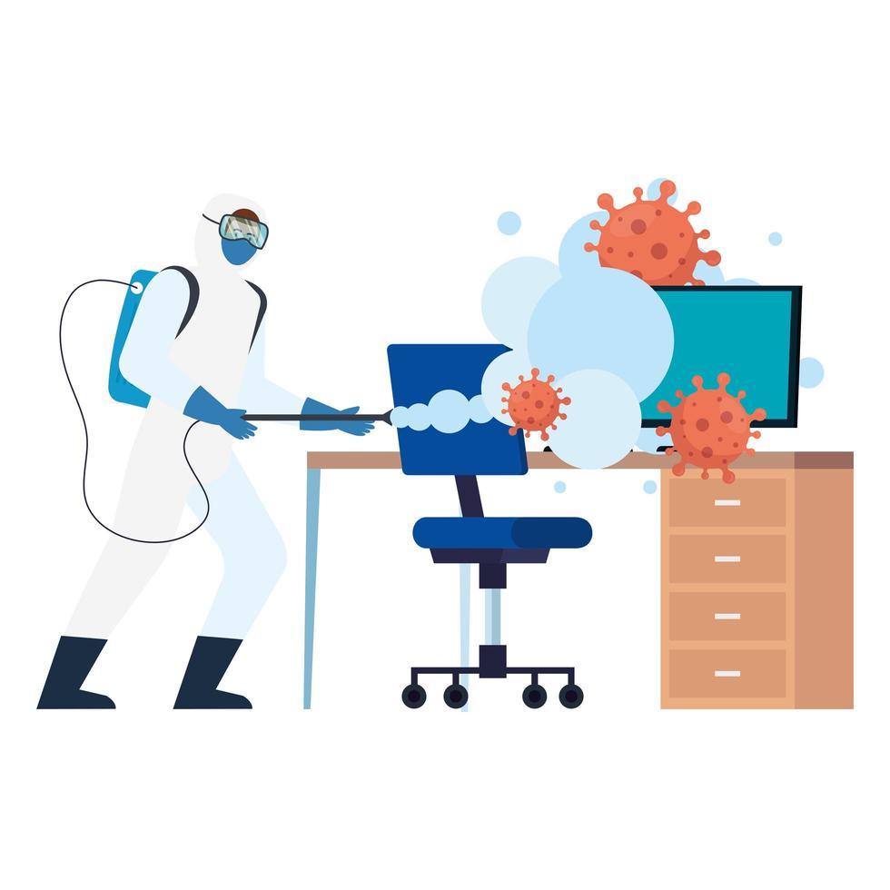 Homme avec combinaison de protection de bureau de pulvérisation de bureau avec conception de vecteur de virus covid 19