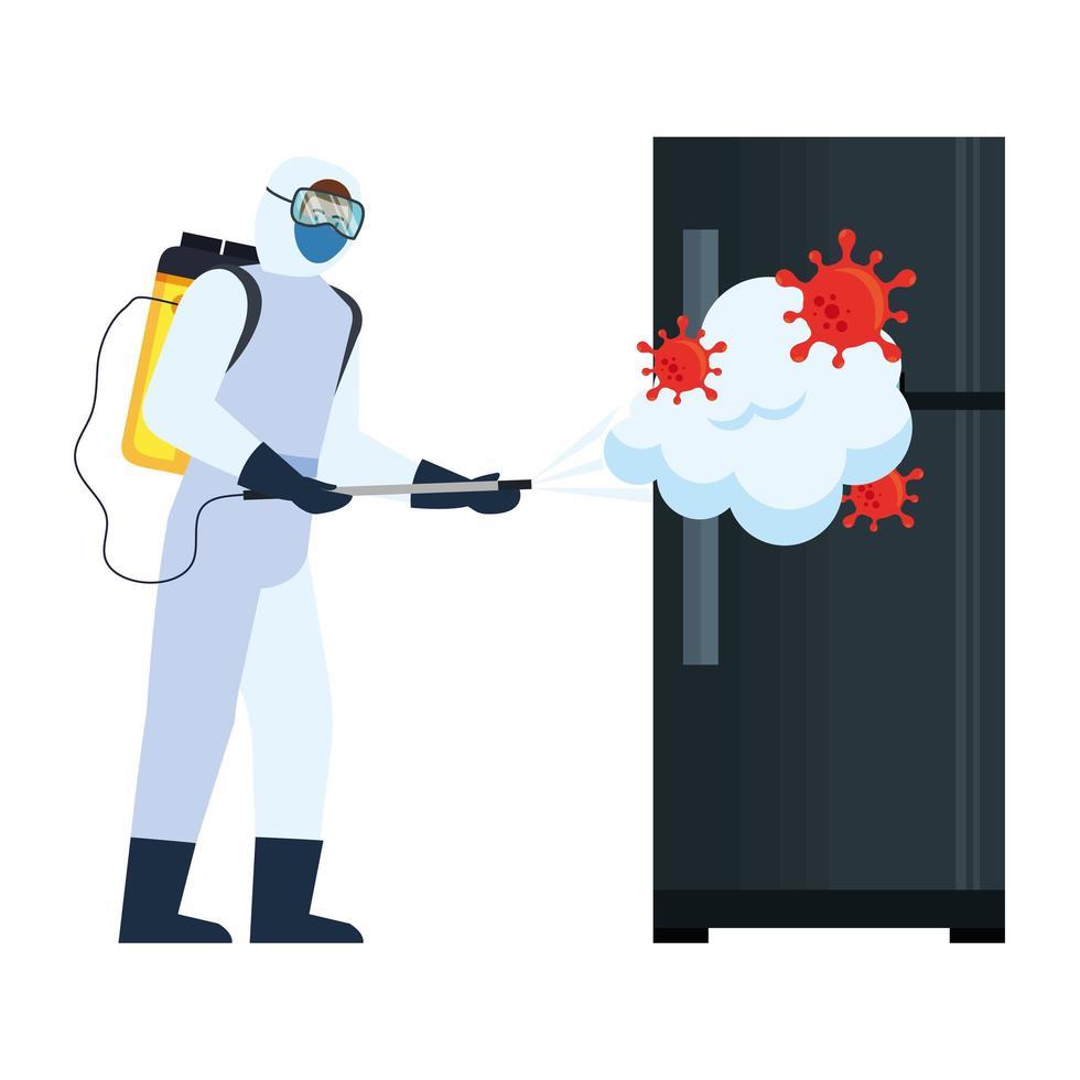 Homme avec combinaison de protection pulvérisant un réfrigérateur avec la conception de vecteur de virus covid 19