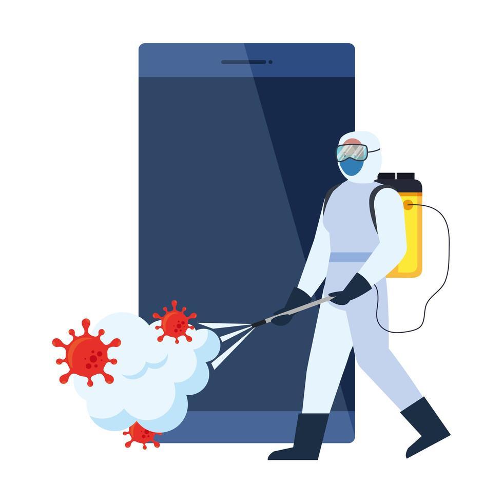 Homme avec combinaison de protection pulvérisant un smartphone avec la conception de vecteur de virus covid 19