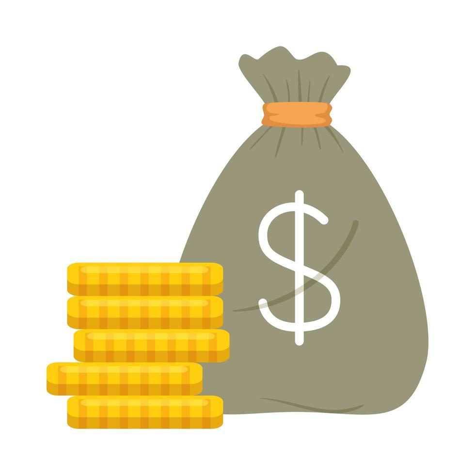 sac d'argent isolé et conception de vecteur de pièces de monnaie