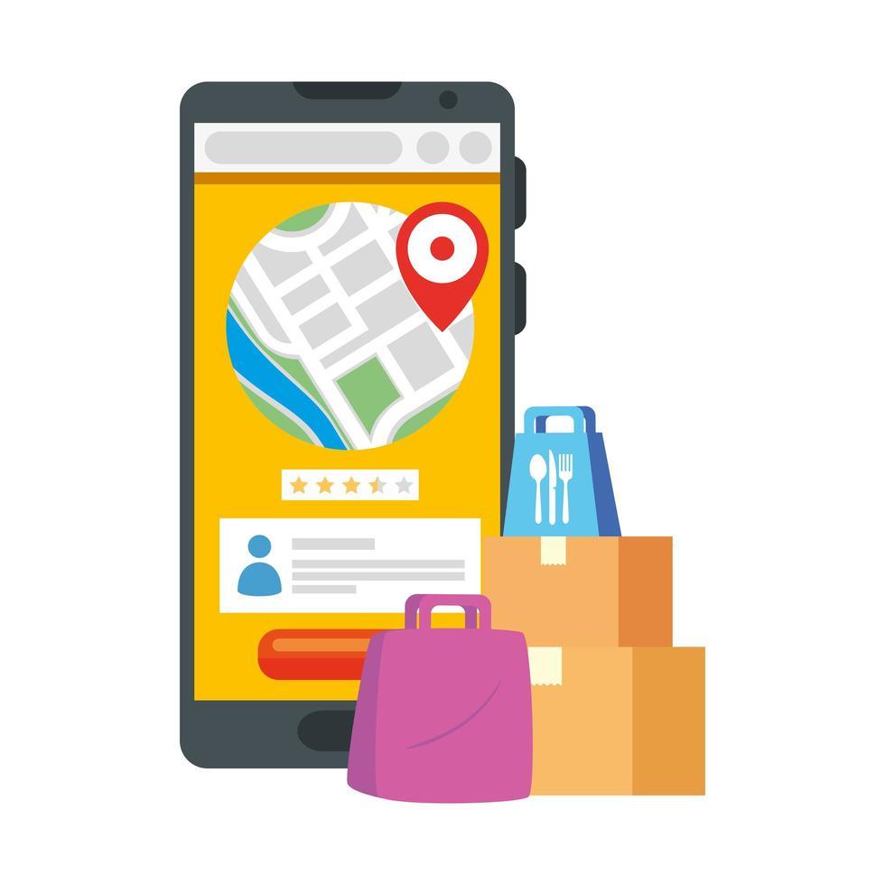 smartphone avec boîtes de marque gps et sacs de conception de vecteur de livraison sûre