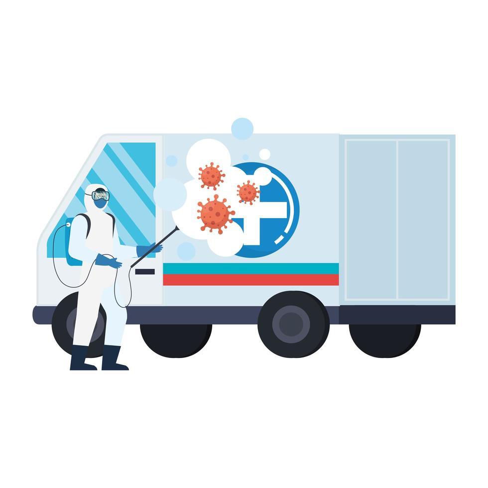 Homme avec combinaison de protection pulvérisant une ambulance avec conception de vecteur de virus covid 19
