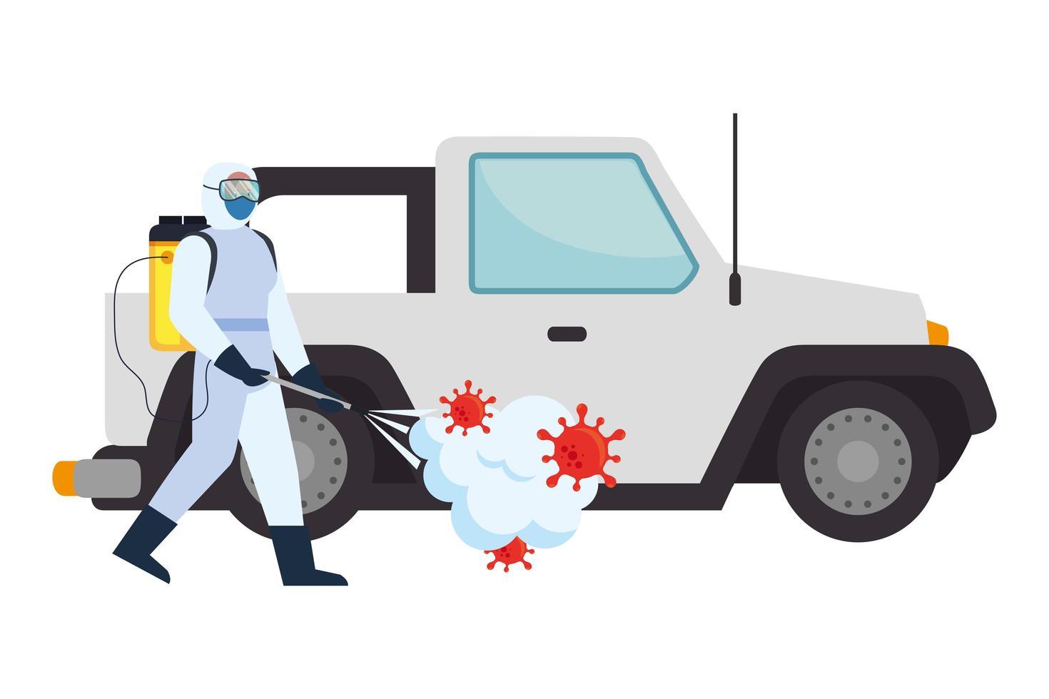 homme avec combinaison de protection pulvérisation voiture avec conception de vecteur de virus covid 19