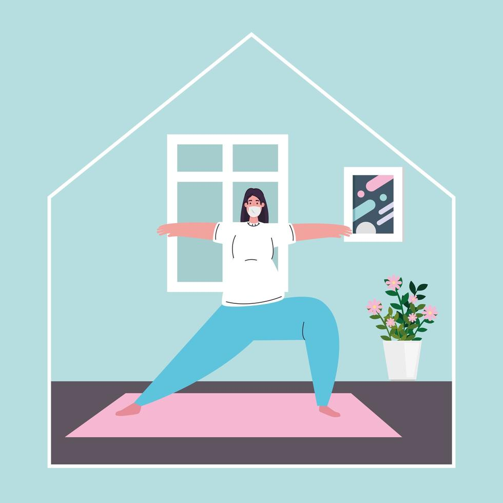 femme exerçant à la maison, rester à la maison, mode de vie sain à l'intérieur, prévention covid 19 vecteur