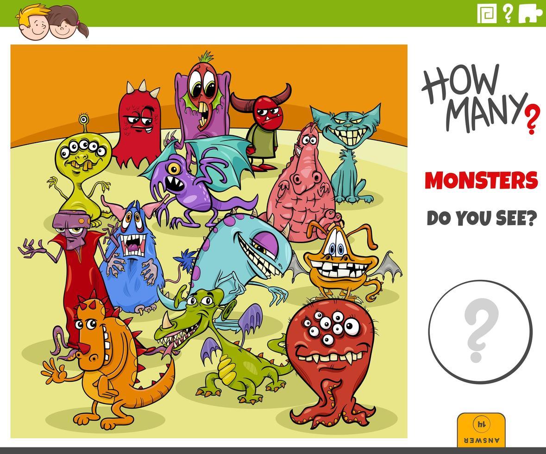 combien de jeu éducatif de monstres de bande dessinée pour les enfants vecteur